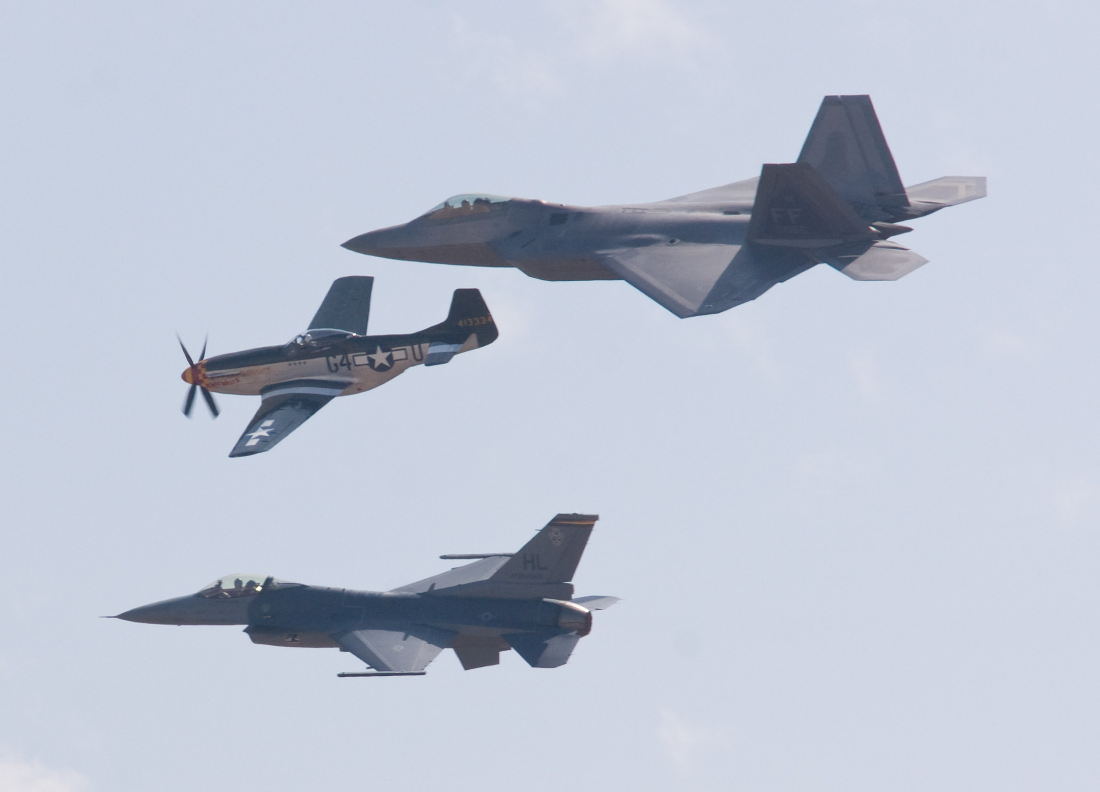 F-22 Raptor, F-16 Falcon, and Mustang
