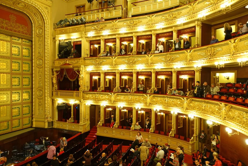 Prague National Theater opera boxes.