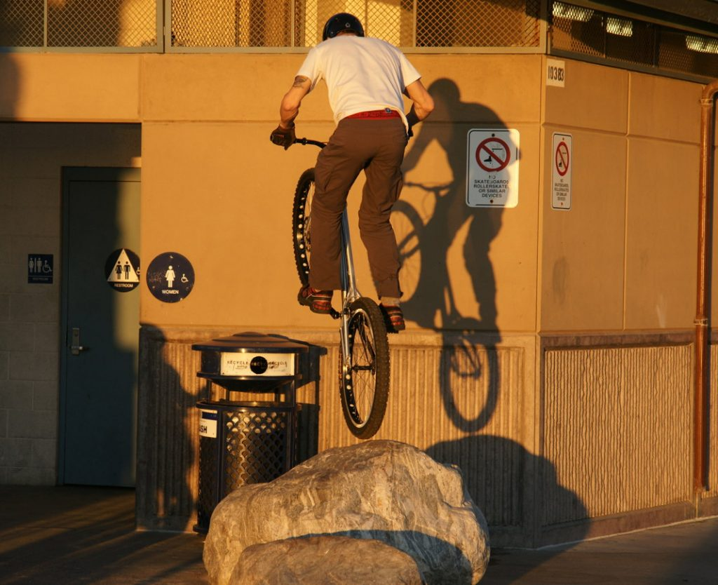 Bounce your bike on a rock.