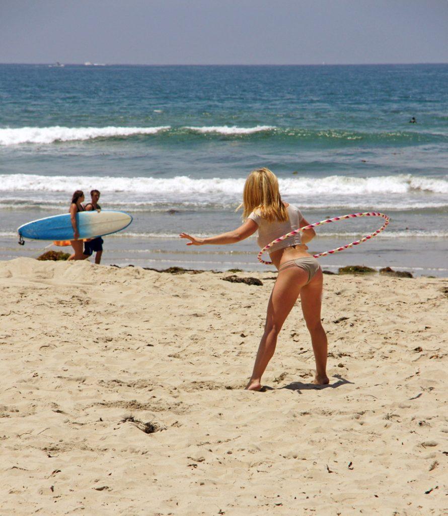 Hula Hoop wearing a swimsuit.