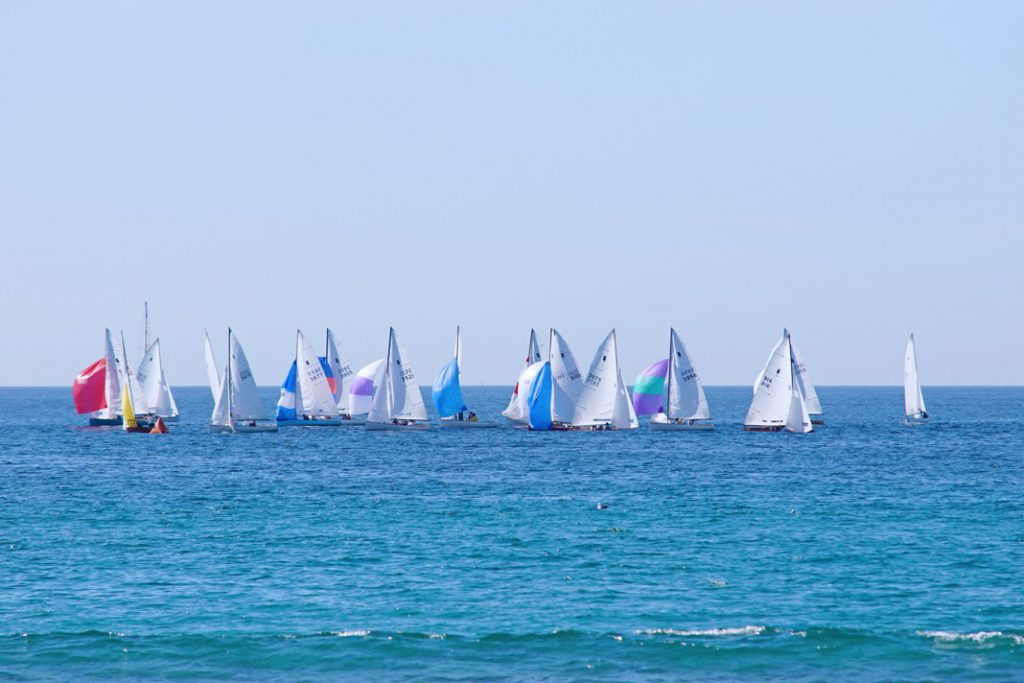 Race on a sailboat.