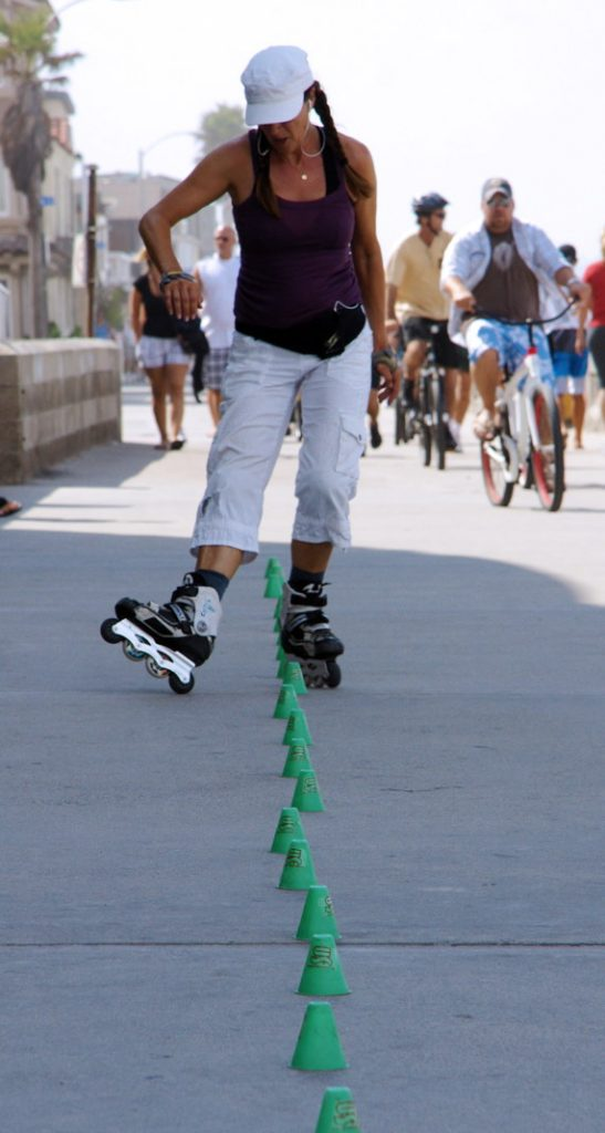 Skate an obstacle course.