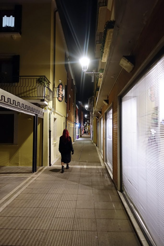 Caorle streets at night.