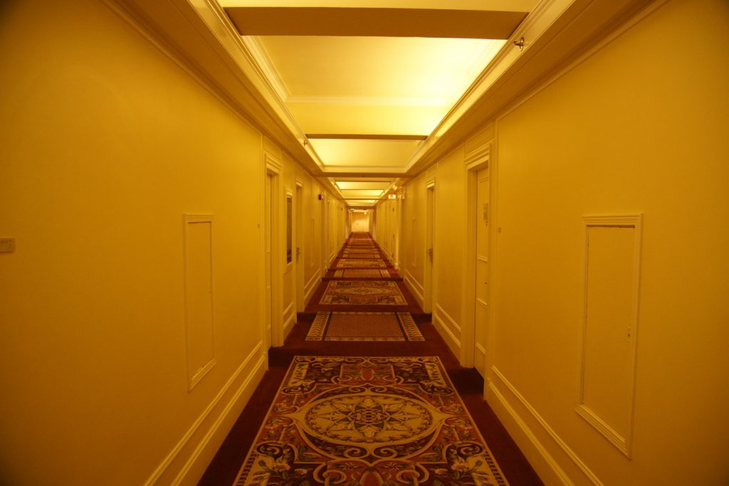 One of the many, perfectly-kept hallways leading to the rooms.