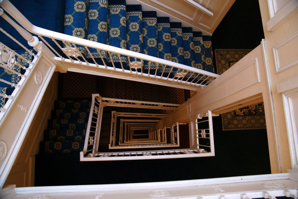 A view down the winding stairwell.