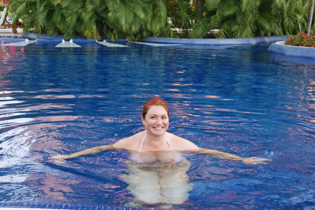 Enjoying the pool at the resort.