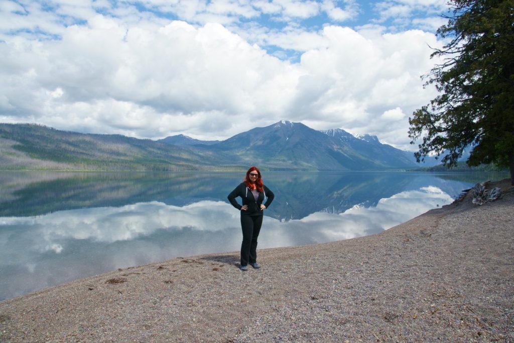 The lake creates an optical illusion.