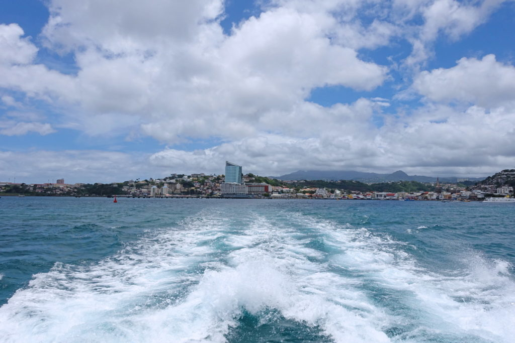 The view of Fort-de-France from the back of the boat.
