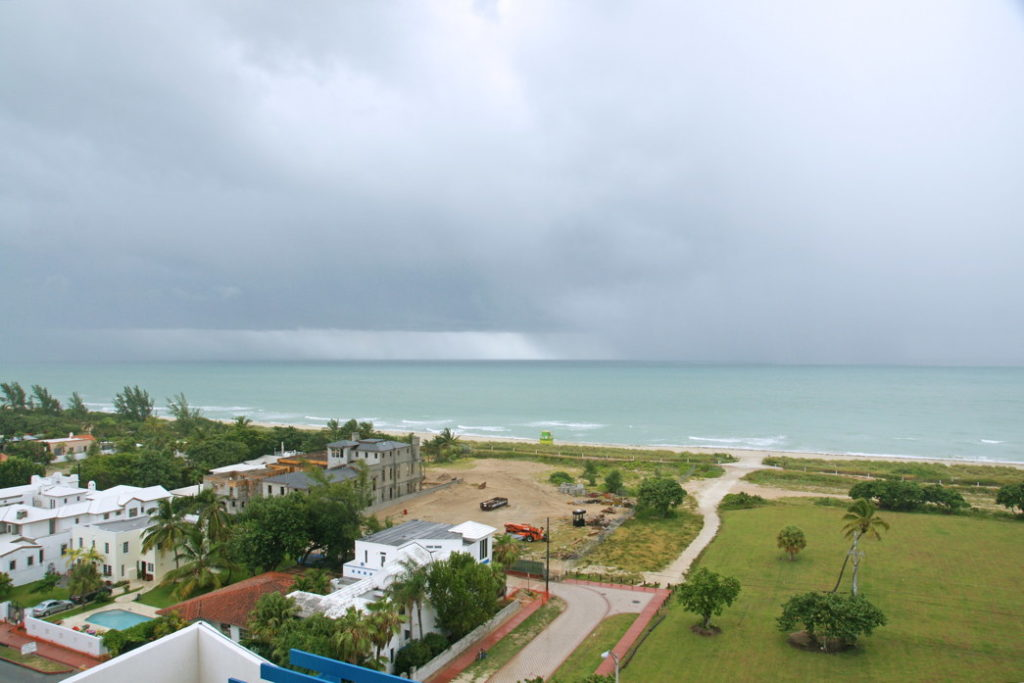 The view from our room toward the Atlantic Ocean. Notice the rain in the distance.