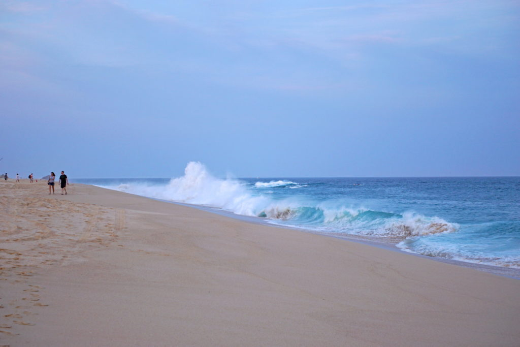 The waves make the ocean too dangerous for swimming.