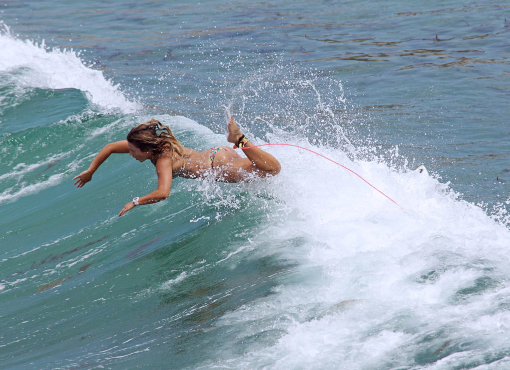 This surfer is demonstrating a good dismount.