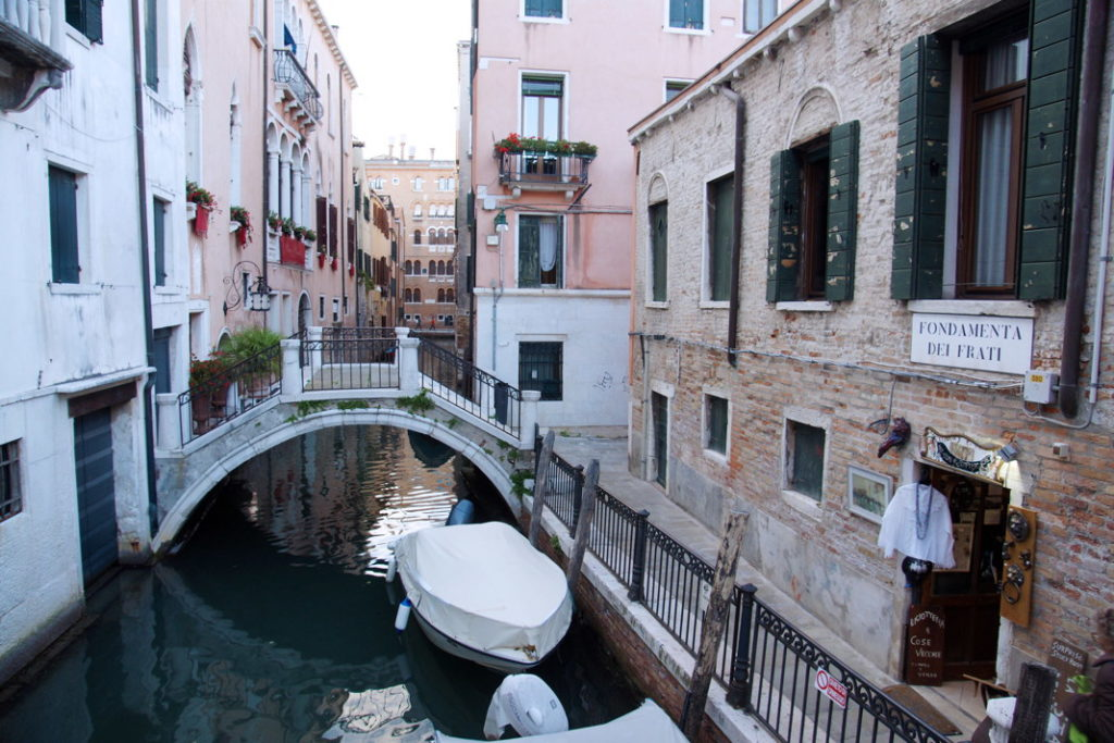 A typical arched bridge in Venice.