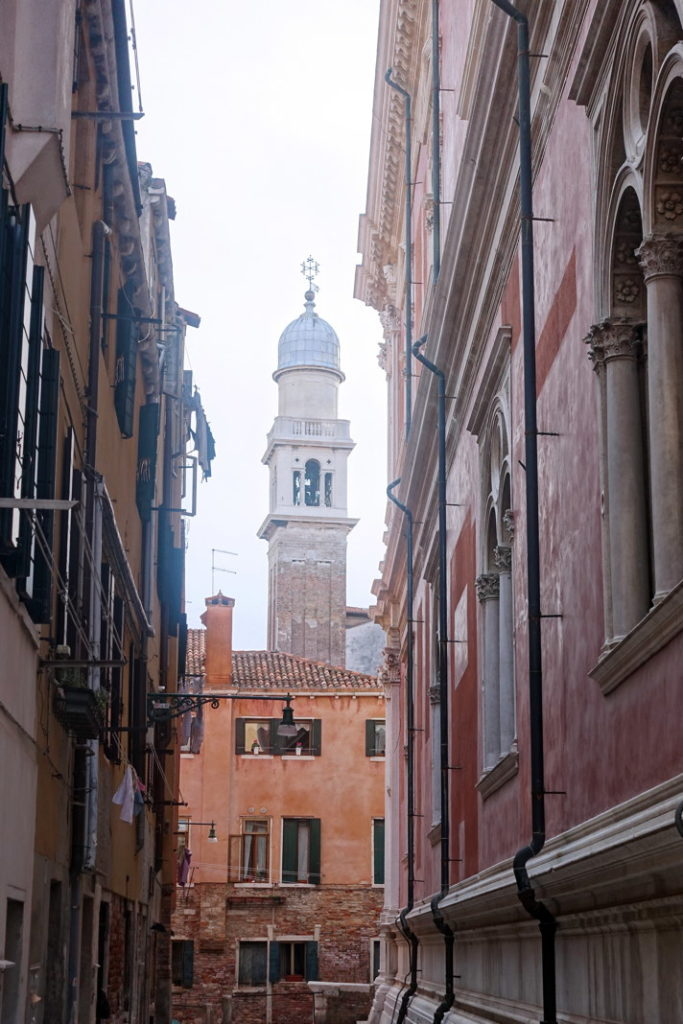 The bell tower of the Chiesa di San Pantaleone Martire, located on the Campo San Pantalon.