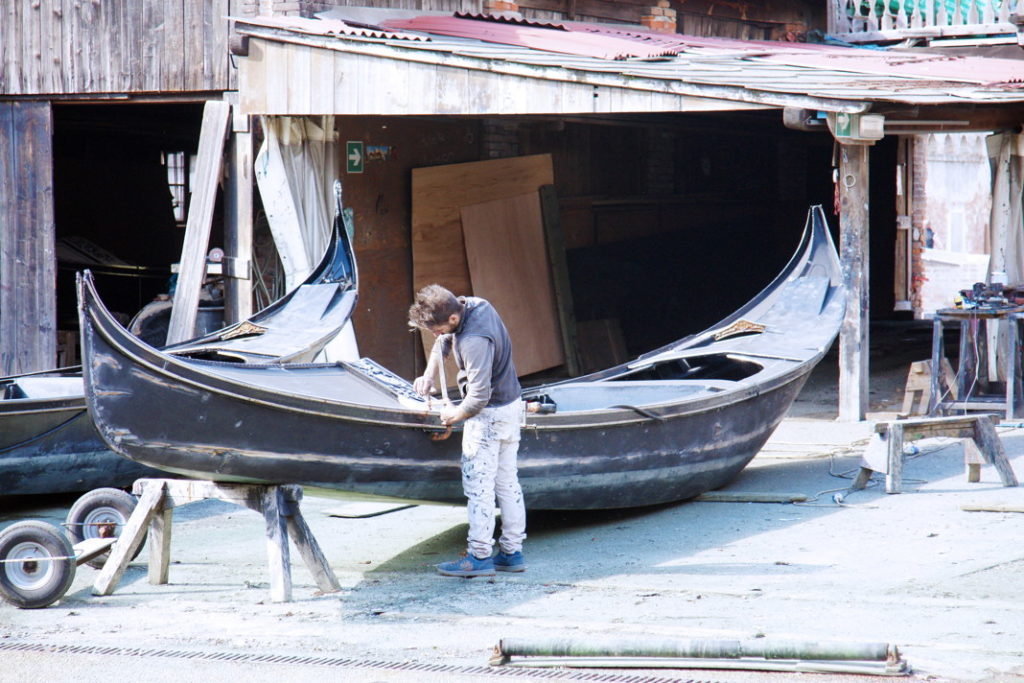 A Gondola craftsman at work.