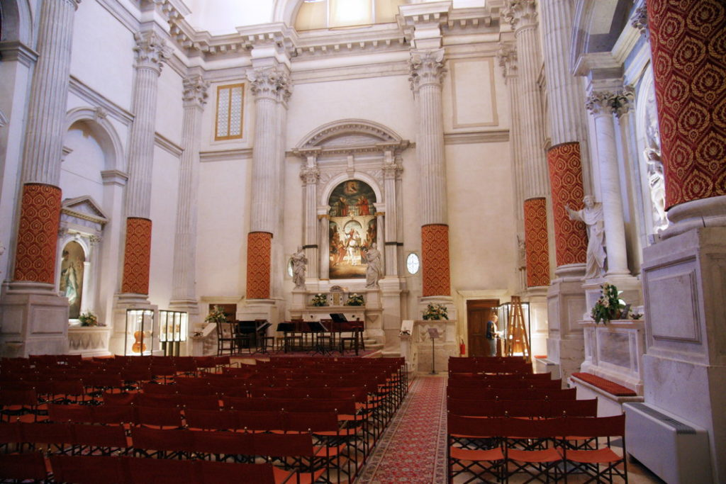 A view of the interior of San Vidal, a former church and now an event and concert hall.
