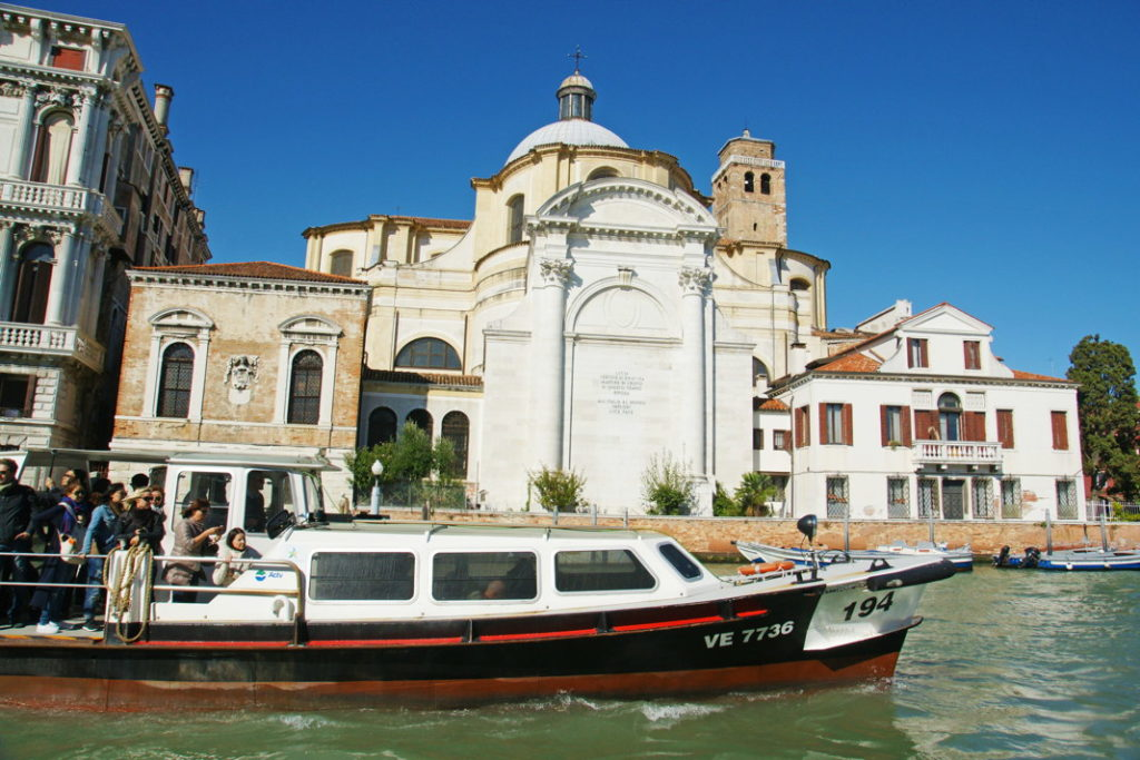 A water taxi in Venice, Italy.