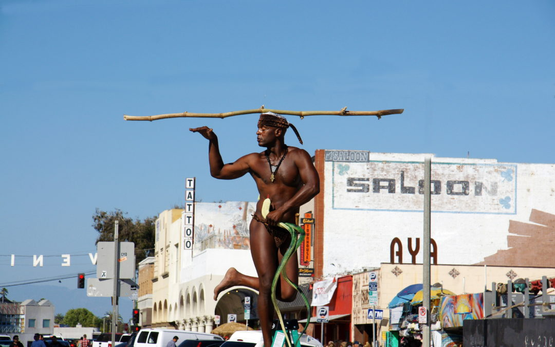 King Solomon, the Snake Charmer, at Venice Beach, California