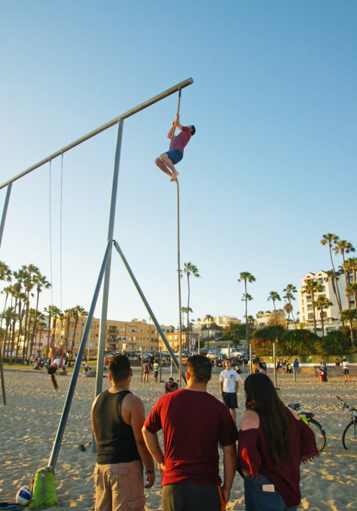 Rope Climbing on the beach.