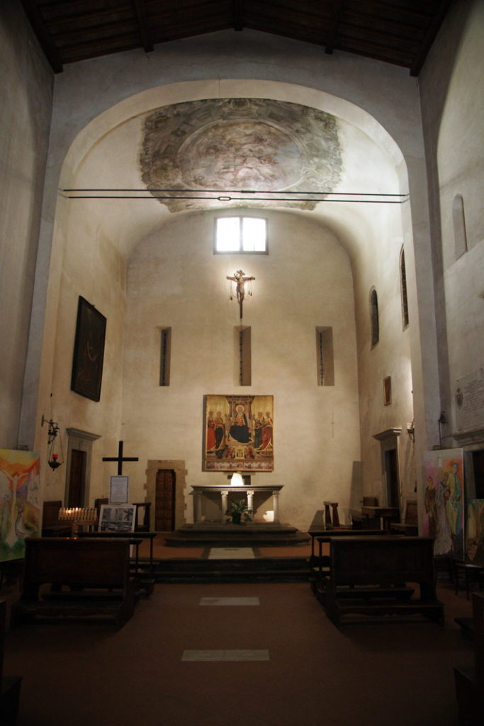 The church contains a fine altarpiece of the Madonna and Four Saints by Neri di Bicci.