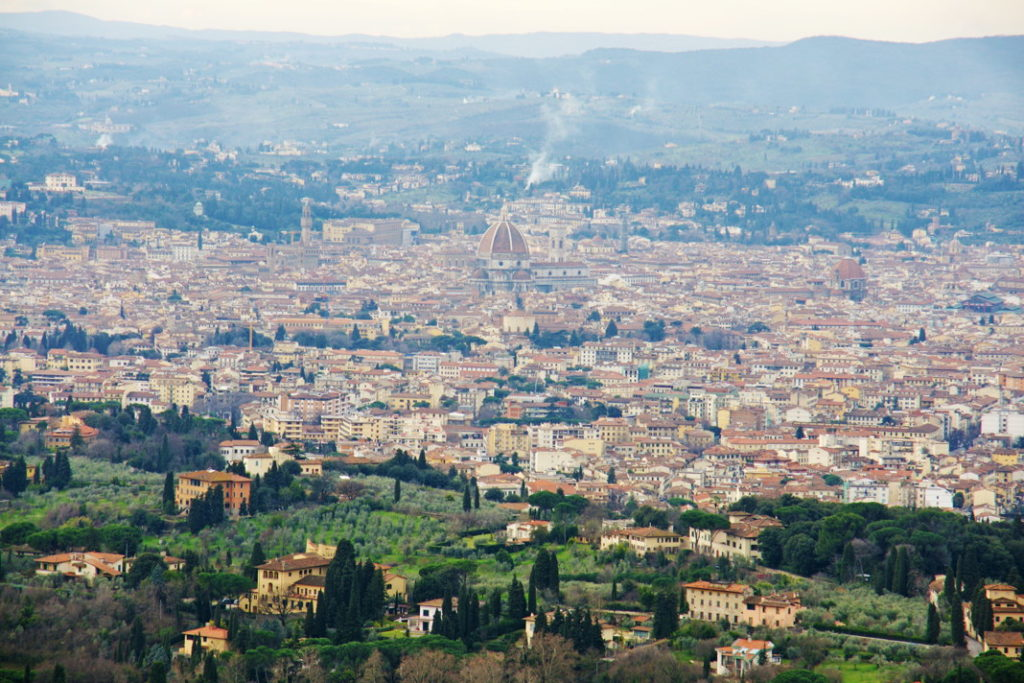 The view from Convento di San Francesco in Fiesole towards Florence.