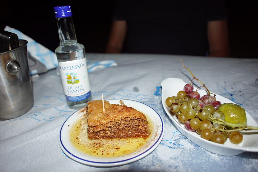 Baklava, grapes, and Ouzo, the perfect desert in Greece.