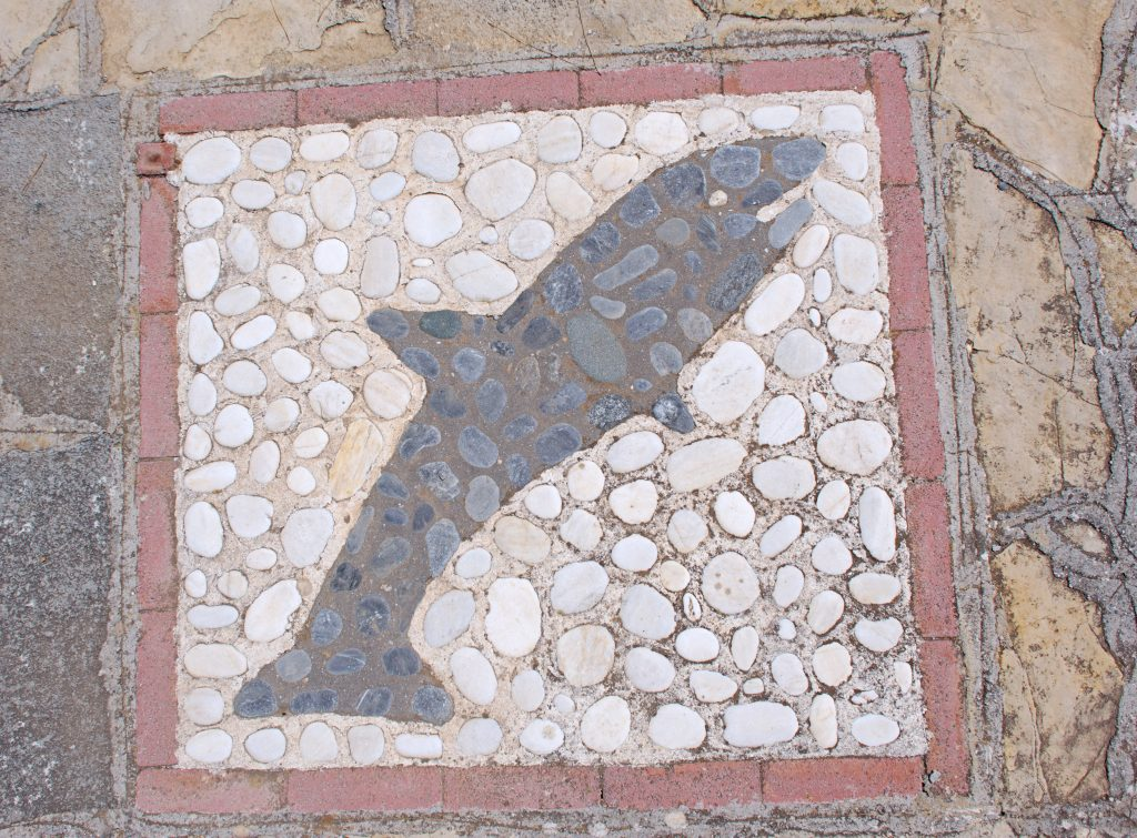 An inlaid sea creature (fish? dolphin?) decorates the courtyard.