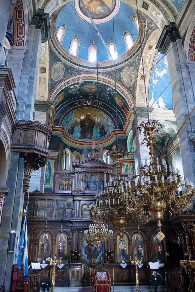 The interior is beautiful, as we've come to expect in Greek Orthodox churches.