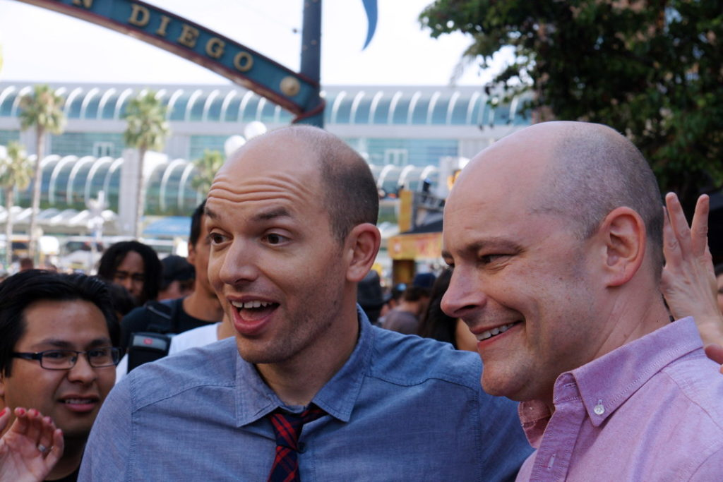 Celebrities like Paul Scheer chat with the crowd.