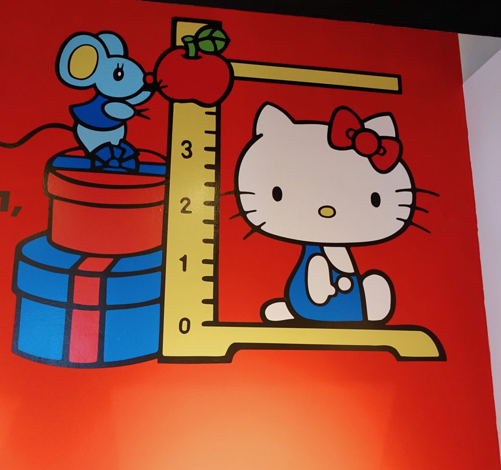 If Hello Kitty were standing, she'd be five apples.