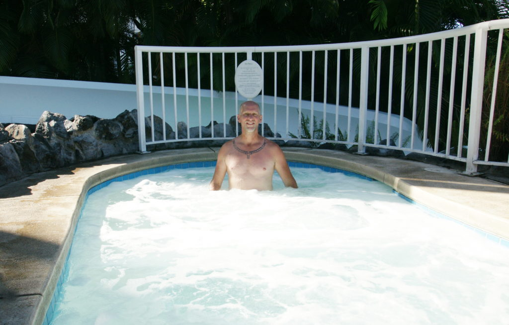 Soaking in the Jacuzzi – it's a bit warmer than the fountain.
