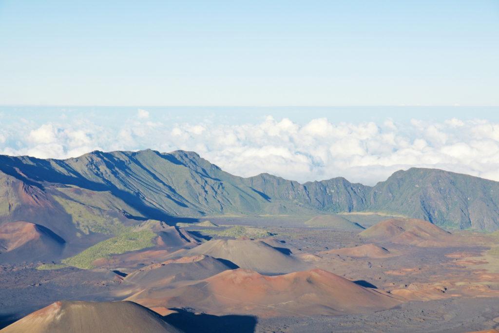 The volcanic crater on Haleakalā.