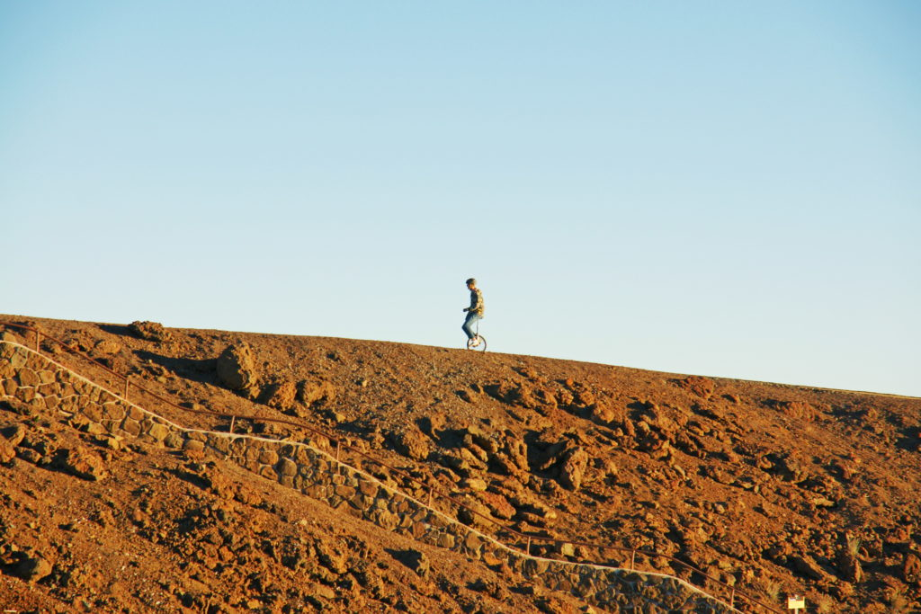 A unicyclist enjoying the evening on Haleakalā.