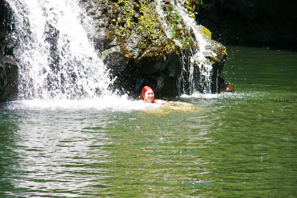 A waterfall massage in Hawaii.