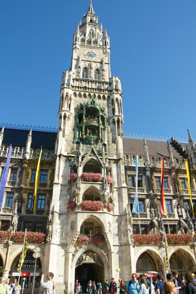 A very confused tourist NOT taking a photograph of the Glockenspiel.
