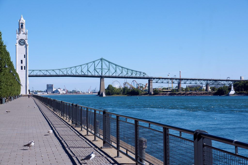 The Montreal Clock Tower and the Jacques Cartier Bridge.