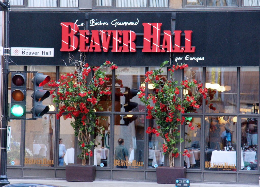 Beaver Hall restaurant, specializing in food other than beaver.