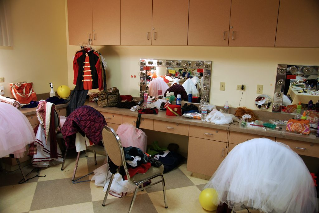 A typical dressing room at the ballet.