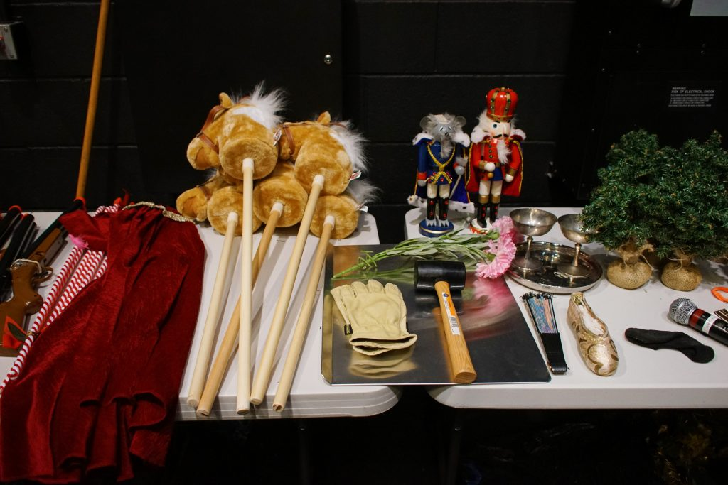 Props for The Nutcracker, carefully arranged.