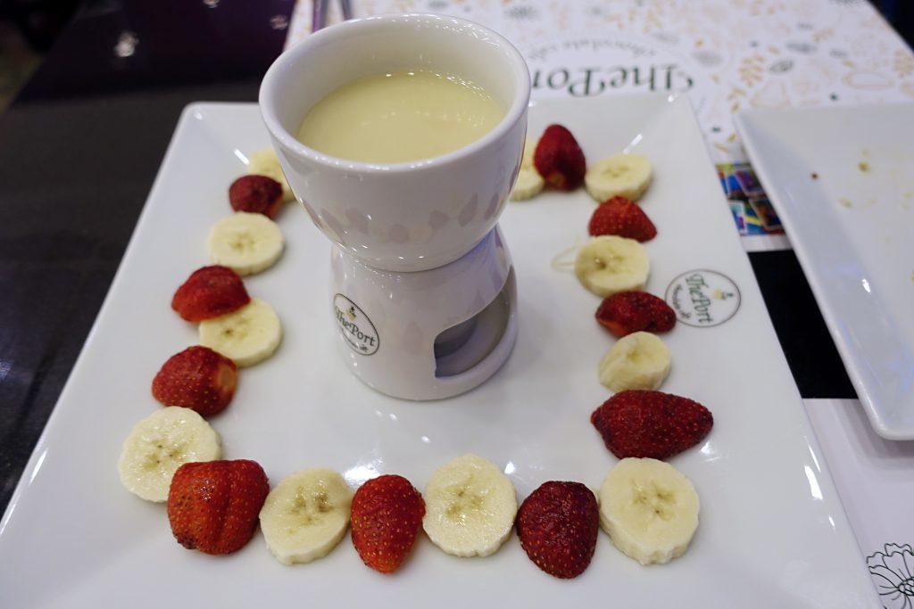 Strawberries and bananas and white chocolate, oh my!