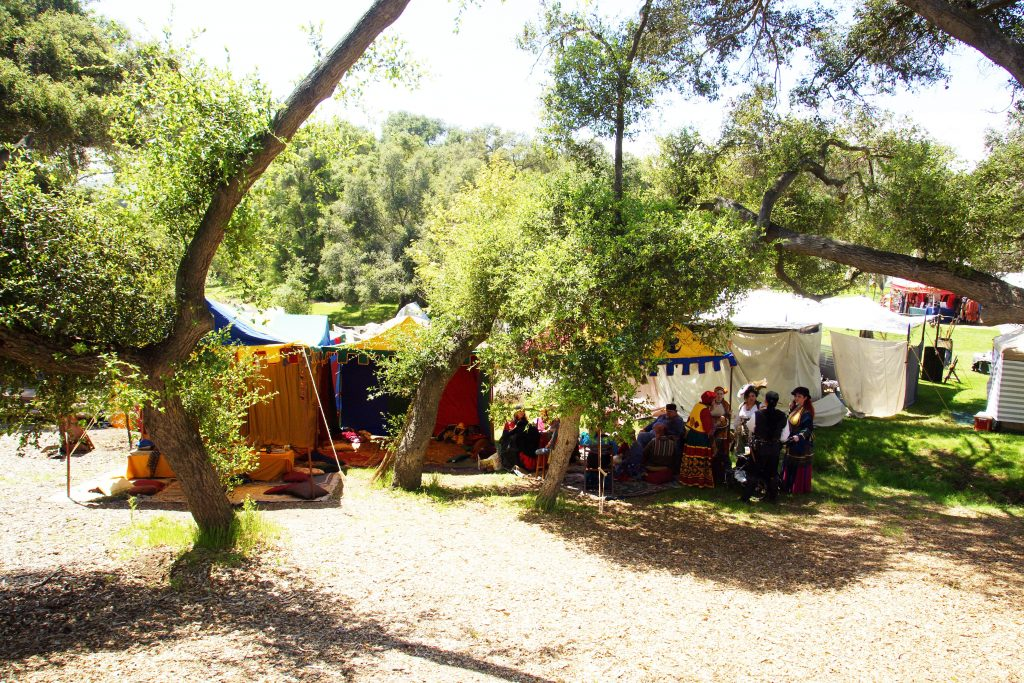Colorful tents dot the meadow, nestled under the oak trees.