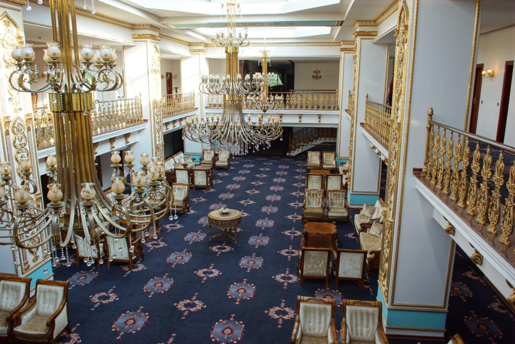 A portion of the lobby, seen from the second floor.