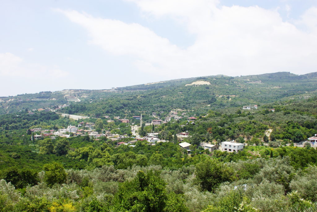 The view from the restaurant showing the forests of southwest Turkey.