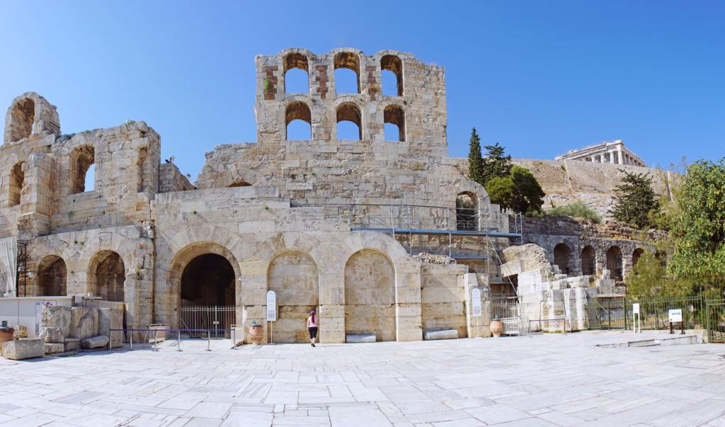 The façade of the Odeon of Herodes Atticus.