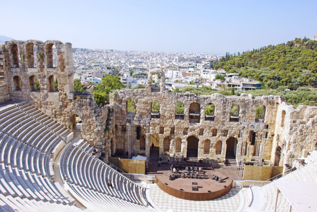 The interior of the Odeon of Herodes Atticus.