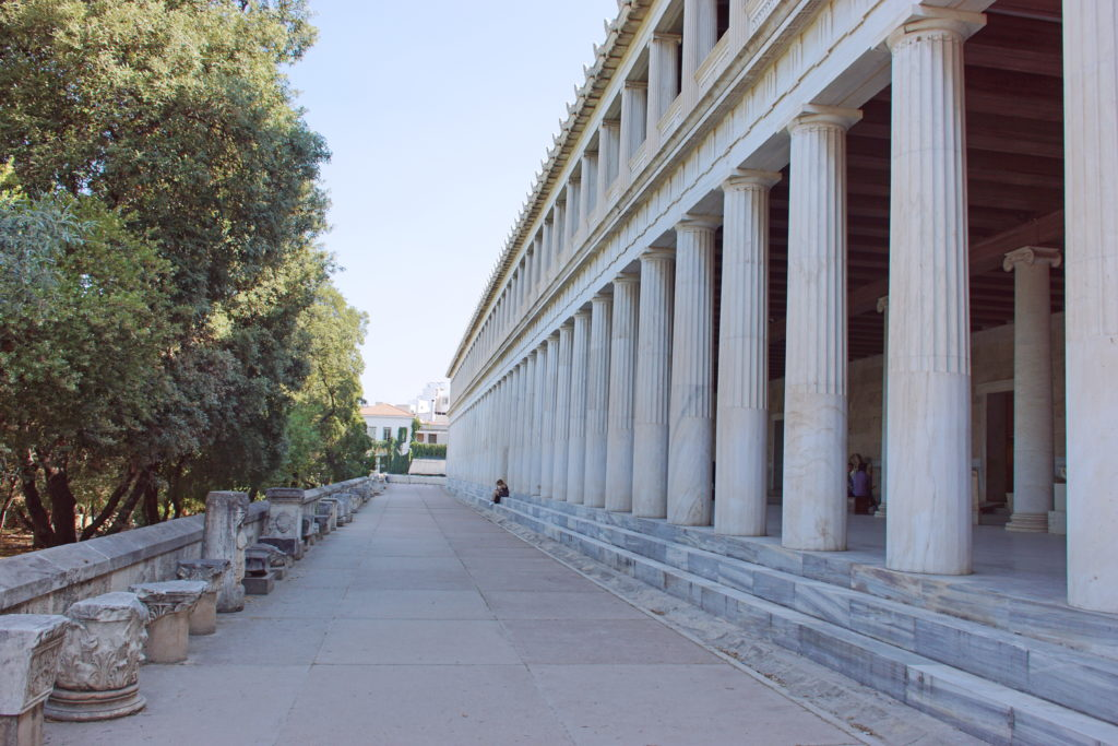 The columns of the 80-meter long stoa, perfectly aligned