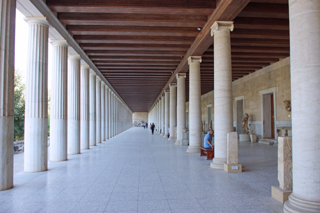 Note the different column styles of the stoa.