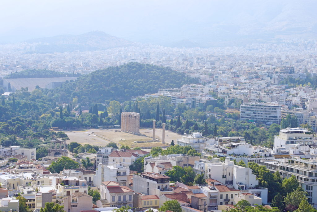 The Temple Of Olympian Zeus, formerly a colossal temple at the center of Athens.