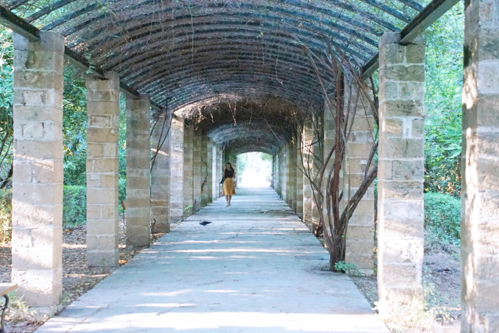 One of the covered walkways in the garden.