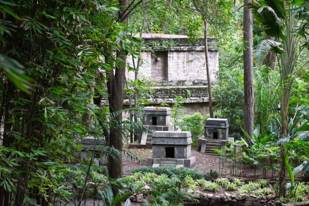 Simulated Mesoamerican ruins.