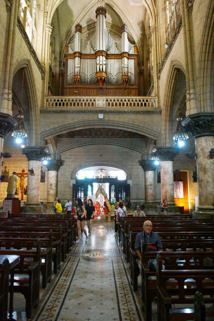 A view to the church's enormous organ.